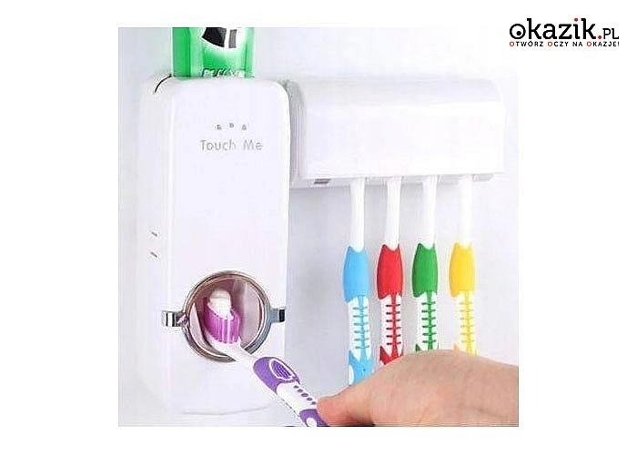 Bezdotykowy dozownik do pasty i uchwyt na szczoteczki do zębów to idealne rozwiązanie do Twojej łazienki