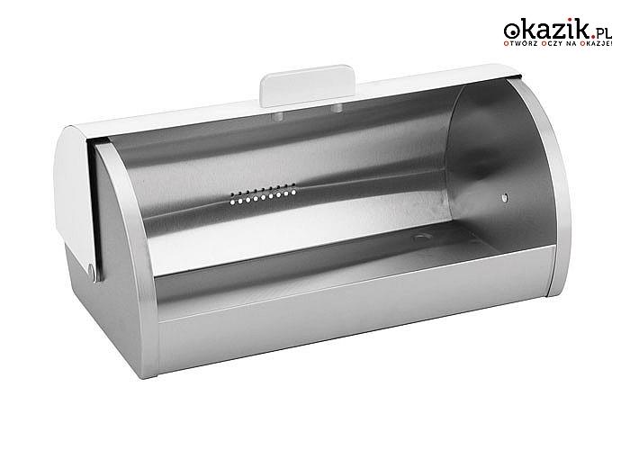 Elegancki, stalowy a przede wszystkim praktyczny pojemnik do przechowywania pieczywa marki Kinghoff