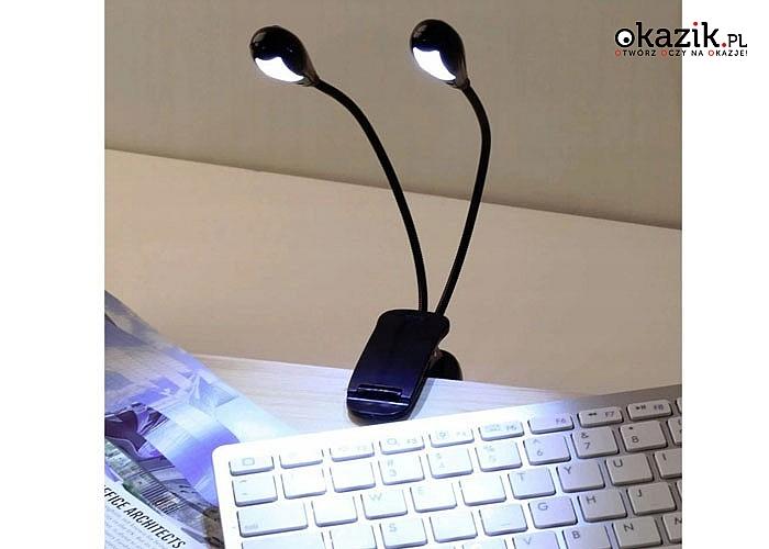 Bezprzewodowa podwójna lampka diodowa z klipsem, idealna do oświetlania stron czytanych książek oraz do laptopa