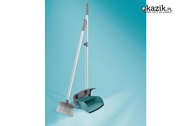 Pojemnik i miotła z długim kijem umożliwiają ergonomiczne zamiatanie bez schylania