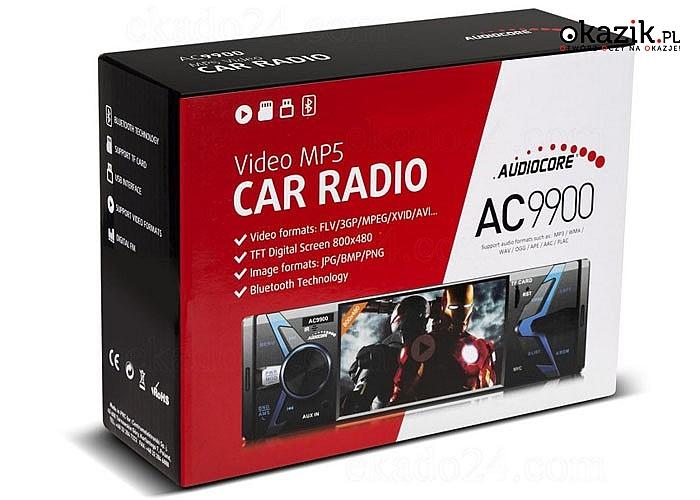 Radioodtwarzacz Audiocore AC9900 MP5 AVI DivX Bluetooth handsfree+pilot .Nowoczesny odtwarzacz multimedialny -moc 4x50W