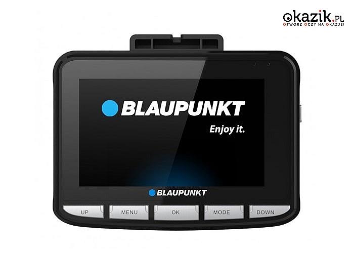 Rejestrator samochodowy Blaupunkt z wbudowanym modułem GPS oraz funkcją nagrywania w pętli
