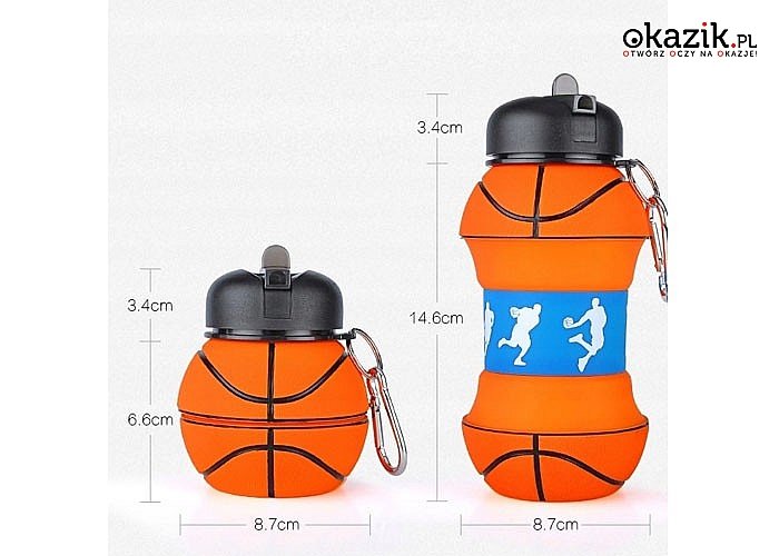 Silikonowy bidon składany z motywem piłki, idealny na szkolne zajęcia z wychowania fizycznego lub na treningi sportowe