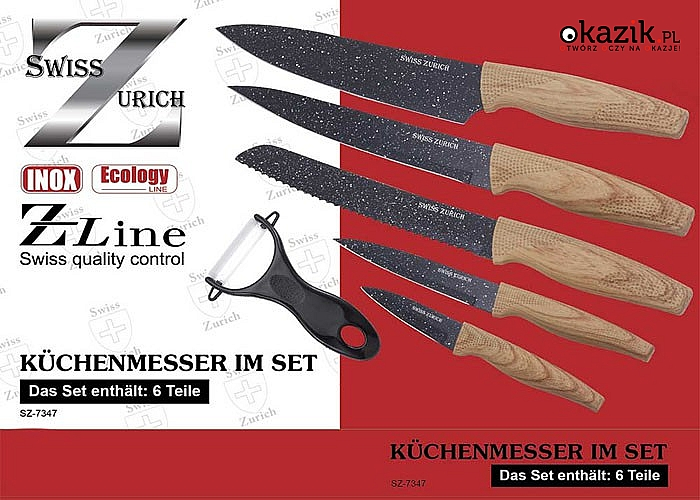Zestaw wysokiej jakości szwajcarskich noży kuchennych z powłoką granitową Swiss Zurych.