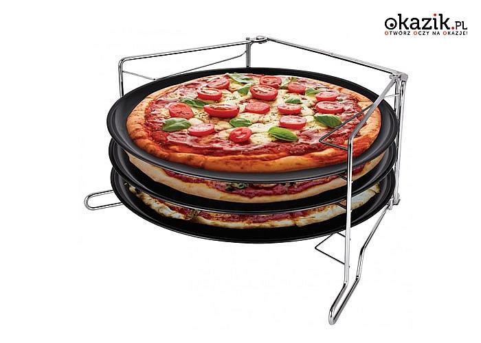 Zestaw trzech blach do pieczenia pizzy. Oszczędzisz czas przygotowując trzy pizze jednocześnie!!!