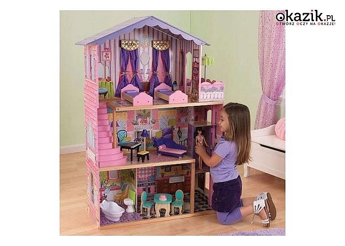 Bardzo duży drewniany domek z mebelkami. Rezydencja dla lalki