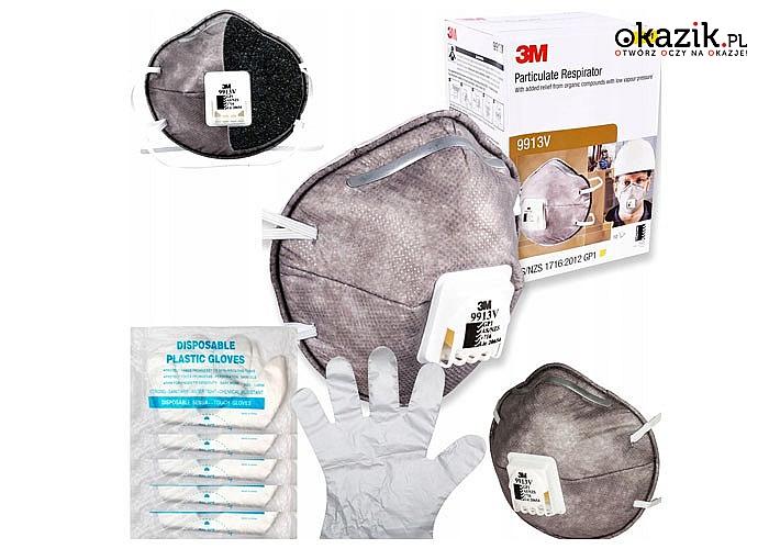 Maseczka 3M 9913V przeciwpyłowa z zaworem + rękawiczki foliowe! Ochrona przed szkodliwymi wirusami i bakteriami!