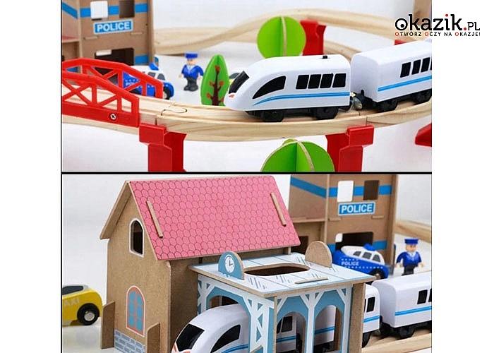 Drewniana kolej z posterunkiem policji. Duża liczba akcesoriów sprawia, że dzieci będą się bawić zabawką bez końca