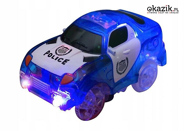 Elastyczny, świecący tor samochodowy! 2 pętle! Kolorowy samochodzik w zestawie!