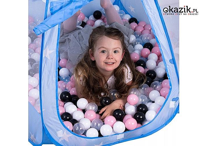 Suchy basen – namiot z piłkami! Zapewni wiele godzin wspaniałej zabawy! 200 piłeczek w zestawie!