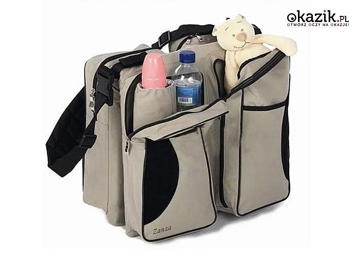 Jednym ruchem ręki możesz zamienić tę pojemną torbę w wygodne łóżeczko turystyczne lub przewijak