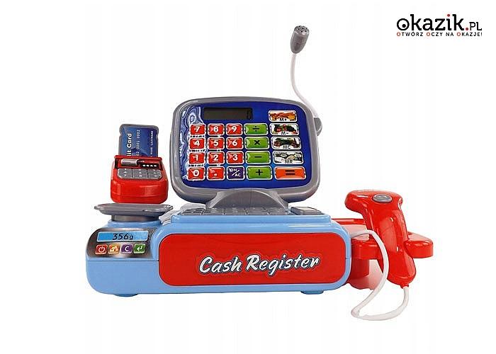 Elektroniczna kasa fiskalna w kolorze niebieskim! Skaner produktów, kalkulator, waga i wiele innych!
