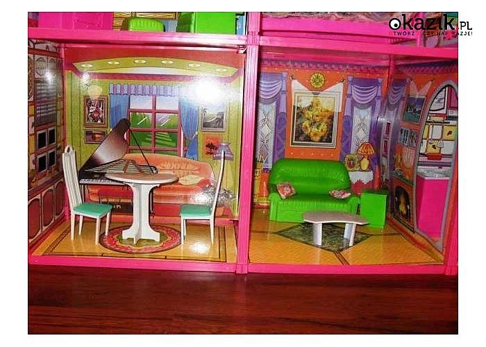 Duży domek z mebelkami dla lalek Barbie. Wymarzona zabawka, któtra zapewni dziecku wielogodzinna zabawę!!!