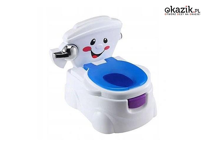 Nocniczek naśladujący prawdziwą toaletę zarówno wyglądem jak i efektami dźwiękowymi. Można go jako nakładkę na sedes