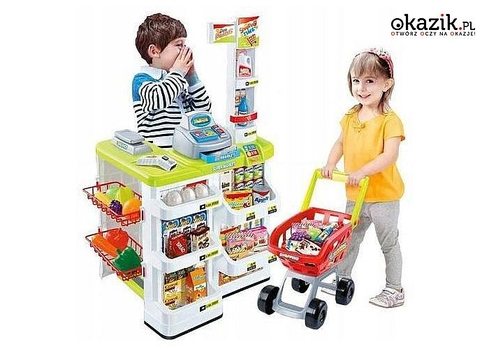 Zabawa w supermarket . Dzięki zabawie dziecko rozpocznie naukę liczenia,rozwinie również zdolności manualne