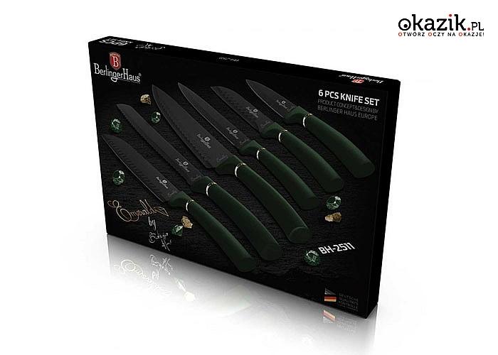 Zestaw 6 noży kuchennych z stali nierdzewnej w eleganckim opakowaniu.