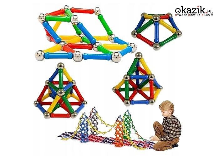 Zestaw klocków magnetycznych 250 elementów. Stymulują umiejętności manualne oraz wyobraźnię przestrzenną