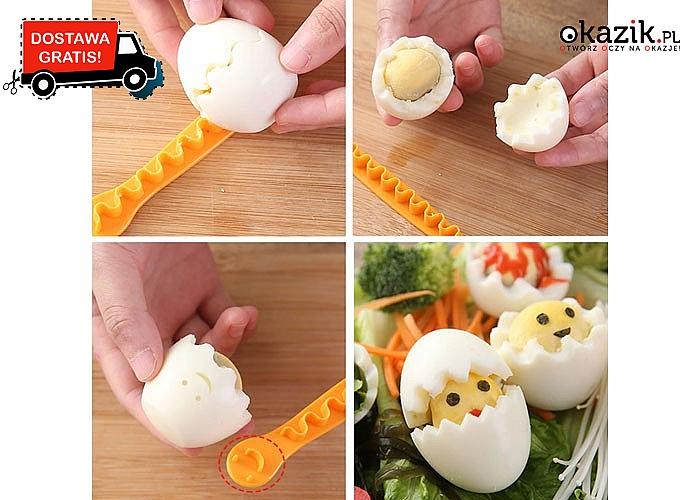Kreatywne jajka gotowane! Zaskocz innych ciekawą propozycją na podanie jaj! 2 nożyki w zestawie!