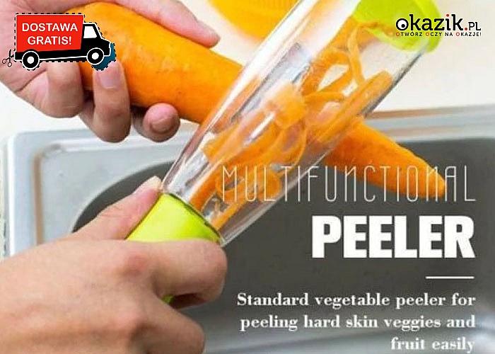 Obieraczka do warzyw i owoców z pojemnikiem! Koniec z bałaganem podczas przygotowywania posiłków!