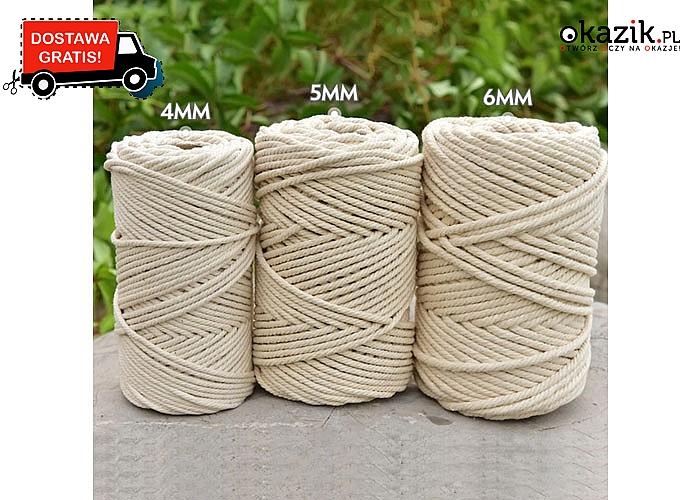 Bawełniany sznurek do rękodzieła w beżowym kolorze! Różne długości i grubości do wyboru! Stwórz wymarzone dekoracje!