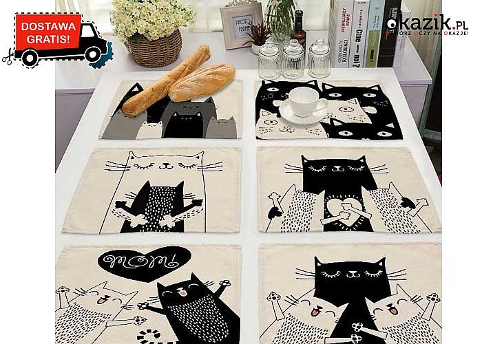 Kocie dodatki w Twoim domu! Urocze podkładki na stół z przeróżnymi wzorami uroczych kotków!