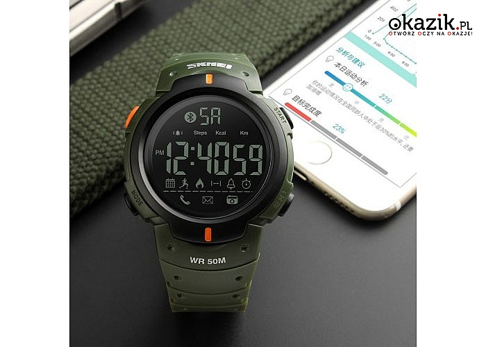 Oryginalny zegarek firmy SKMEI z bluetooth i cyfrowym cyferbaltem.