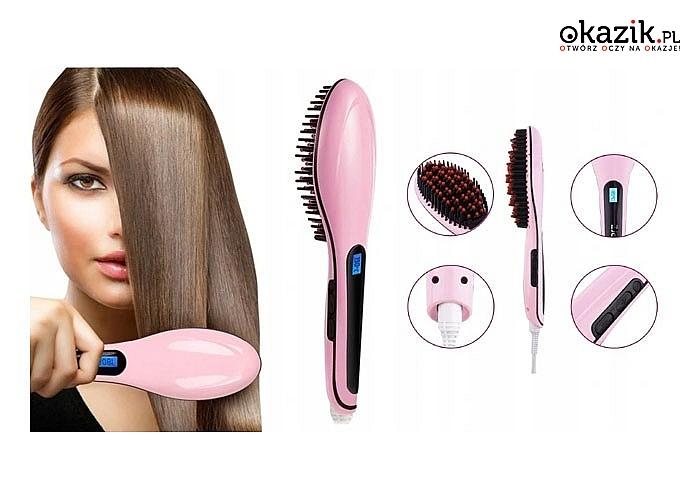 Pięknie wyprostowane włosy od nasady aż po same końce w kilka minut, dzięki elektrycznej szczotce