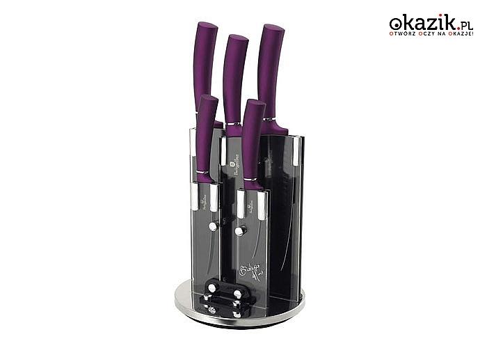 Zestaw noży w stojaku 5 elementów ciesz się precyzją i swobodą użytkowania