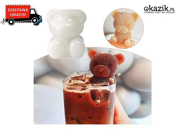 Stylowa forma w kształcie misia, którą pokochają wszyscy w rodzinie. ochłodź orzeźwiający napój lub zimną gorącą herbatę