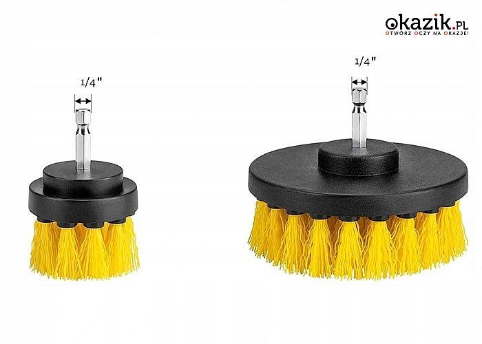 Zestaw 3 szczotek montowanych na wiertarkę do czyszczenia, sprzątania różnych powierzchni