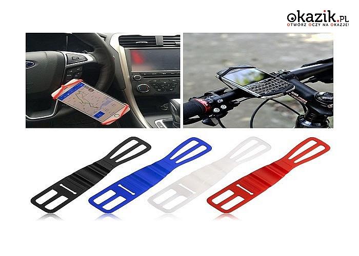HIT! Uniwersalny, elastyczny uchwyt silikonowy do roweru! Błyskawiczny montaż i demontaż!