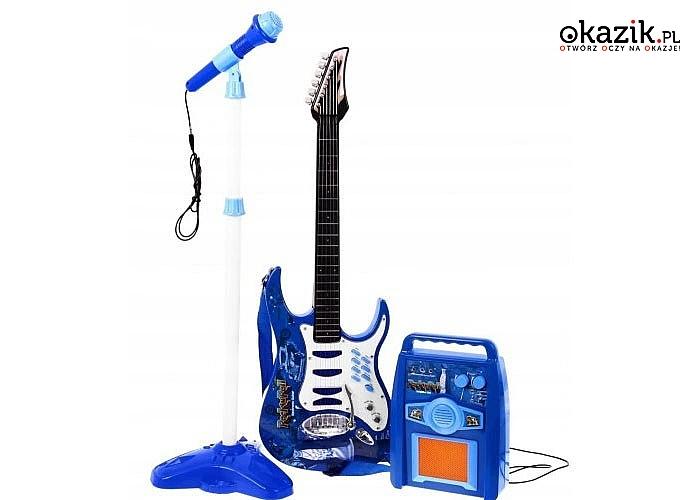 Gitara elektryczna dla dzieci w zestawie mikrofon oraz wzmacniacz z możliwością podpięcia MP3