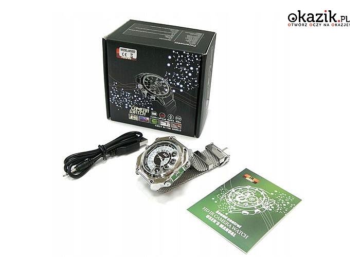 Zegarek z kamerą aktywowaną dźwiękiem! Full HD i wbudowana pamięć 4GB pozwolą nagrywać wszystko co zechcesz!