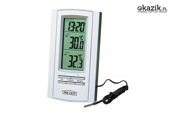 Stacja pogodowa! Termometr, zegar. Marka Meteo!
