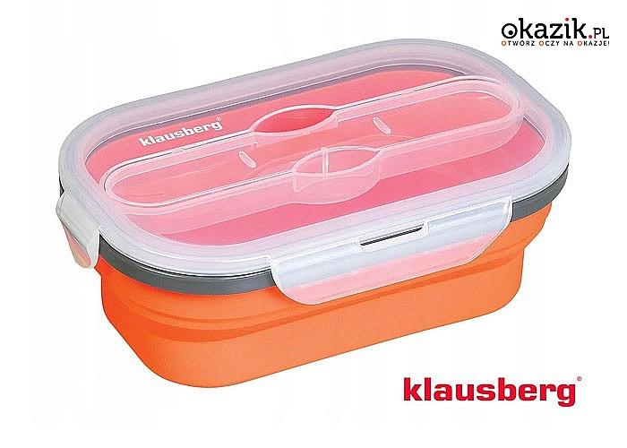 Jednokomorowy lunchbox 800ml KLAUSBERG w komplecie z łyżko-widelcem