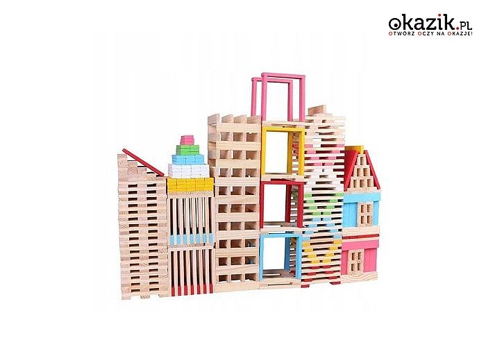 Drewniane klocki edukacyjne! Aż 150 sztuk! Stwórz niesamowite budowle!