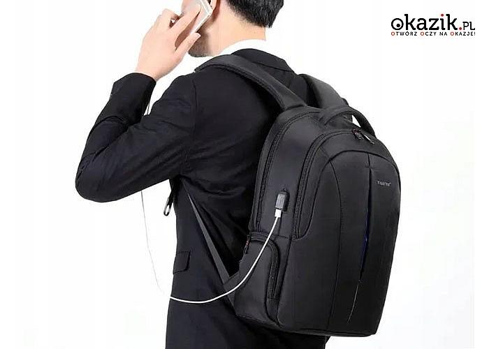 Bardzo pojemny i świetnie zorganizowany plecak na laptopa Tigernu wykonany z plamoodpornego i wodoodpornego materiału