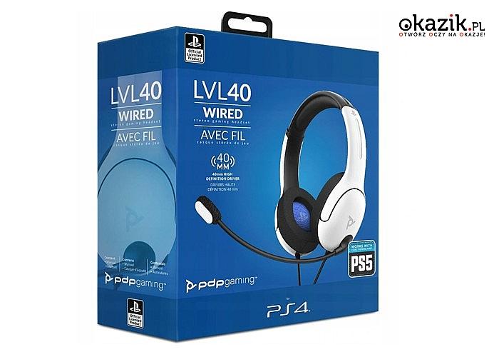 Przewodowy stereofoniczny zestaw słuchawkowy LVL40 na konsolę Xbox One zapewnia wysoką jakość dźwięku