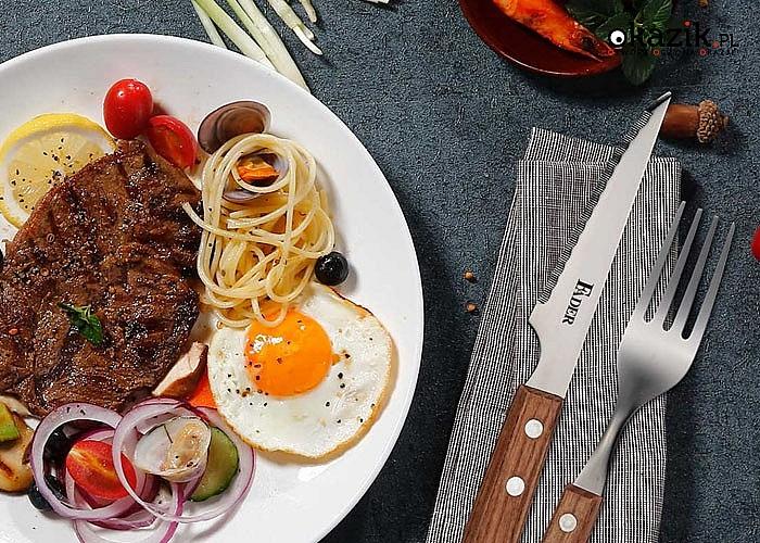 Zestaw sztućców idealnie nada się zarówno do potraw z grilla, ale również do steków czy pizzy