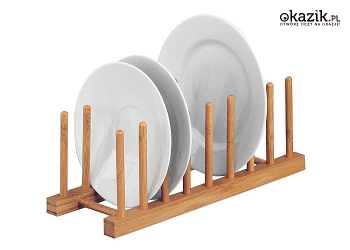 Stojak na talerze wykonany z drewna bambusowego idealnie wpasuje się w wystrój każdej kuchni