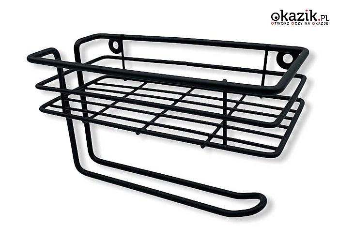 Praktyczny wieszak na ręczniki papierowe z półką na przyprawy, akcesoria kuchenne lub inne drobiazgi
