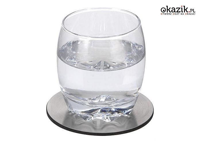 Komplet 6 stalowych podstawek pod szklanki to eleganckie i praktyczne rozwiązanie dla domu