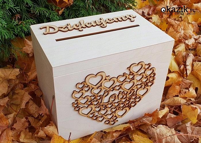 Piękne drewniane pudełko na koperty ślubne! Wzór 3D na froncie i boku! Idealna dekoracja i pamiątka!
