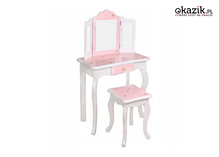 Różowa toaletka z potrójnym lustrem oraz taborecikiem zapewni ogromna frajdę małej kobietce