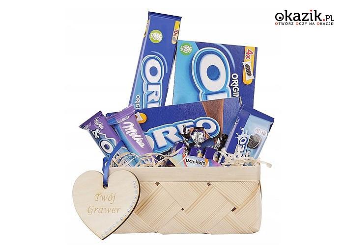 Kosz wypełniony słodyczami Oreo to słodki upominek dla wyjątkowej osoby