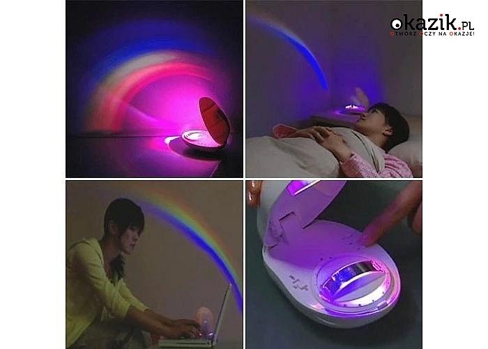 Projektor tęczy nastraja i zapewnia fenomenalny efekt wizualny w sypialni zarówno dziecka jak i dorosłej osoby