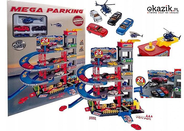 Parking samochodowy! Aż 3 poziomy! Stacja paliw, znaki, światła drogowe, 4 autka i wiele innych elementów w zestawie!