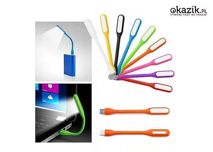 Lampka silikonowa LED zasilana z gniazda USB świetnie sprawdzi się podczas pracy na laptopie