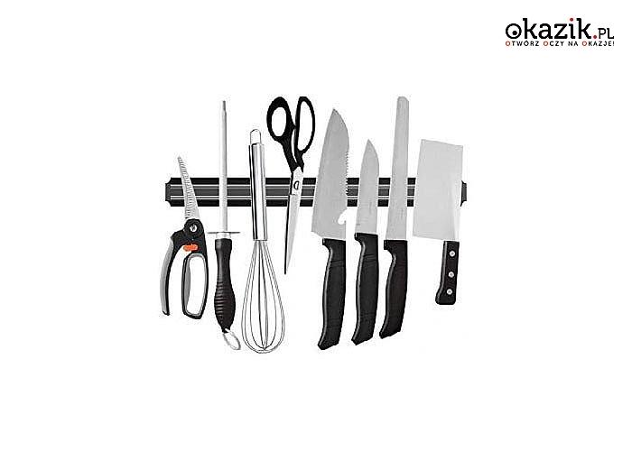 Listwa magnetyczna do noży i akcesoriów kuchennych pomoże zaoszczędzić miejsce w kuchni