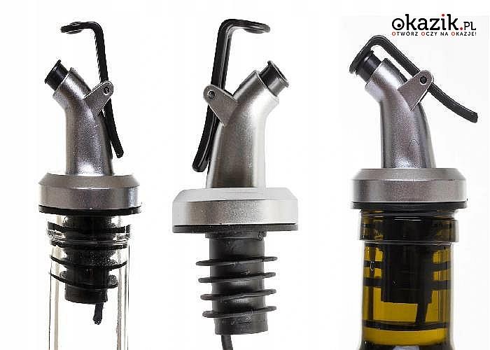 Nalewak idealnie nadaje się do dozowania oliwy z oliwek i octu oraz do dozowania innych olejów kuchennych i płynów